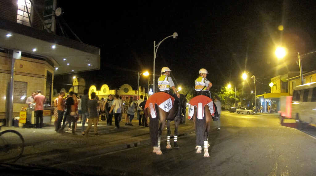 HIGH ALERT: Mounted police officers will again be keeping an eye on the schoolies celebrations in Byron Bay this year.