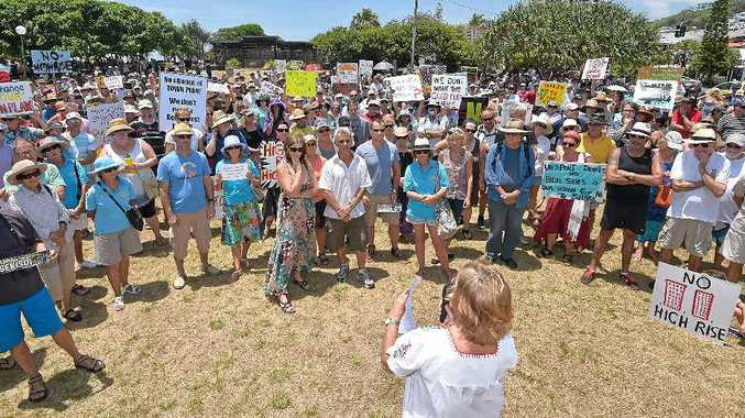 SPEAKING OUT: Protesters gather at Tickle Park, Coolum, opposing the proposed Sekisui House high-rise development at Yaroomba.