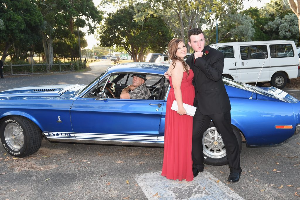 Image for sale: Hervey Bay State High School students Ashley Whiteside and Tim Scott arrive in style for their formal at the Waterfront Restaurant in Urangan.