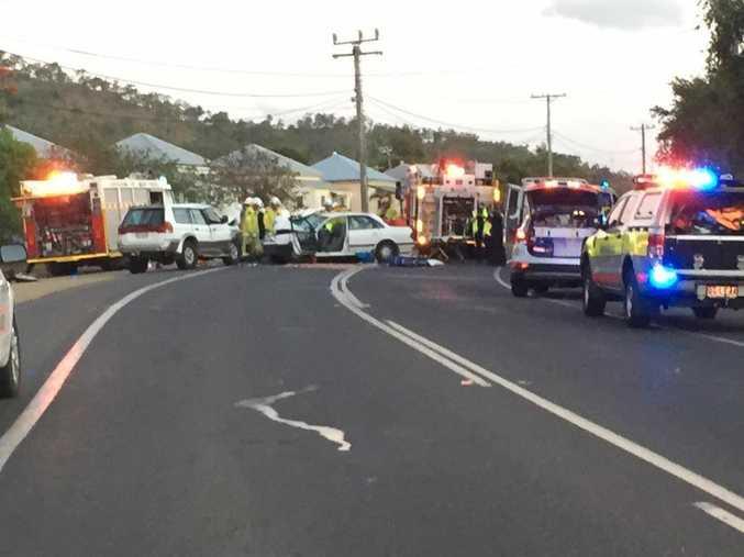 Emergency services attend to a fatal traffic crash on Lakes Creek Rd, Rockhampton.
