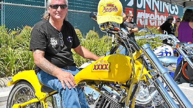 Gary Anderson with one of his two award-winning custom Harley-Davidsons at the White Ribbon Riders show 'n' shine on Saturday.
