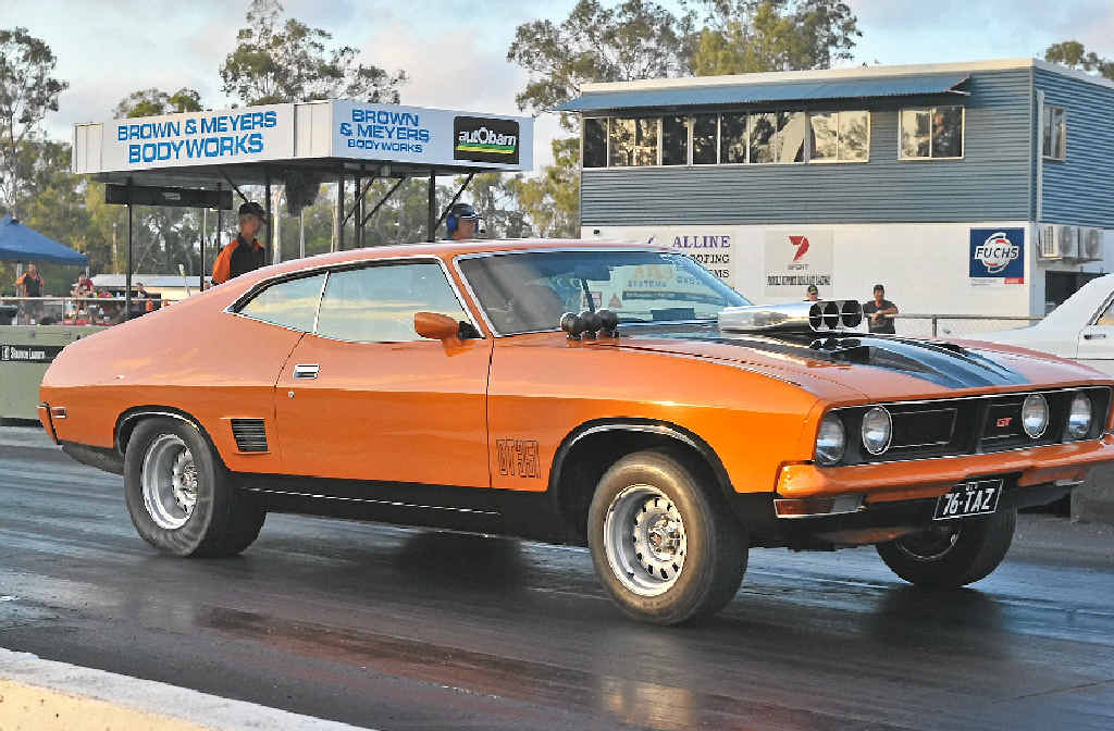 TIDY UNIT: Gladstone's Brett Kelly in his Ford XB hardtop at the final round of CQDRA's drag racing at Benaraby Raceway on Saturday.