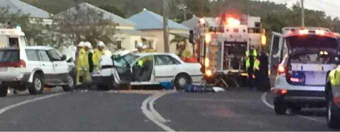 HEAD-ON: Emergency services at last night's fatal traffic accident on Lakes Creek Rd, Rockhampton.