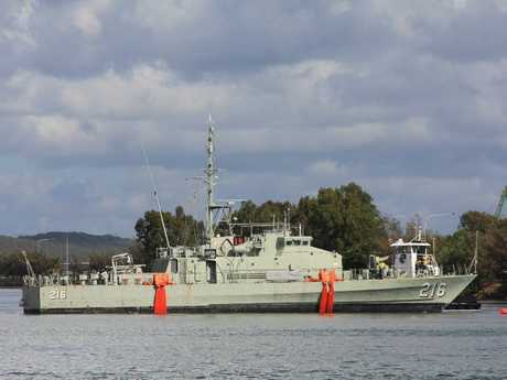 HMAS Gladstone is being moved to its new home at the East Shores precinct.