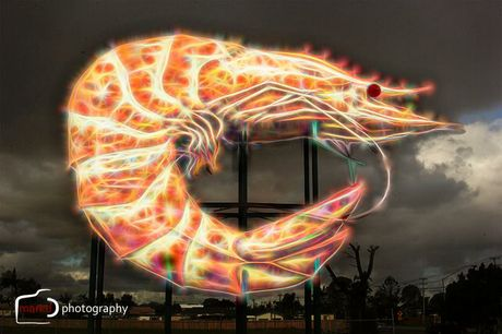 If the big prawn was done up in neon lights.