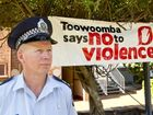 CLEAR MESSAGE: Snr Sgt Jason Hopgood, part of the Toowoomba Police presence white ribbon day in Toowoomba. Tuesday, Nov 25, 2014 . Photo Nev Madsen / The Chronicle