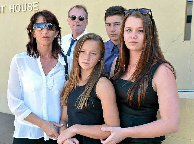HEARTBROKEN: The Garrels family (from left) Lee, Michael, Georgia, Lachlan and Gemma outside Mackay Court House after an investigation into the death of Jason Garrel (left).