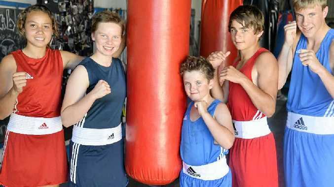 THE TEAM: Rose City Boxing Club members Teresa Poole, Britnee Wallace, Jack Mountain, Jacob Wyllie and Jackson McMahon are ready for the state championships at Acacia Ridge.