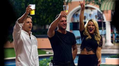 The Big Brother top three finalists, from left, Ryan Ginns, Travis Lunardi and Skye Wheatley.