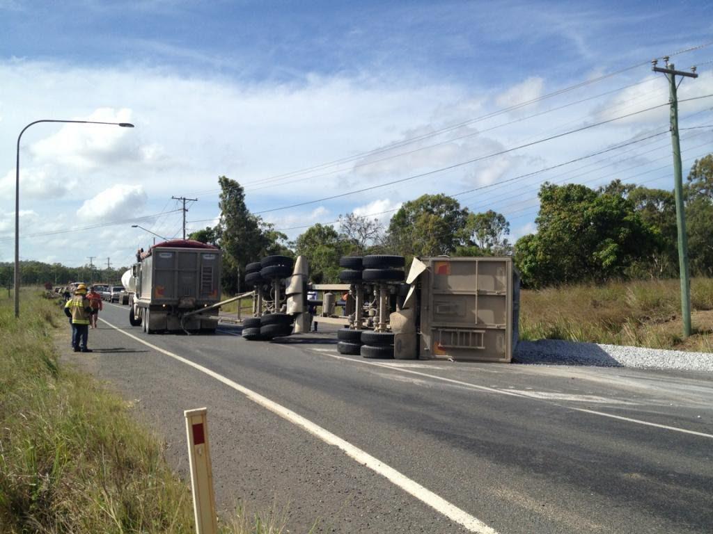 A truck trailer jack-knifed on Mt Larcom-Gladstone Road.