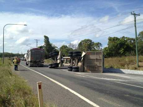 A truck trailer jack-knifed on Mt Larcom-Gladstone Road.