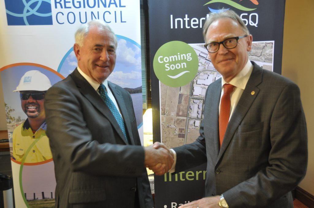 Toowoomba Mayor Paul Antonio (left) and InterLinkSQ chairman John Dornbusch following the council's vote support a $10 million grant application.