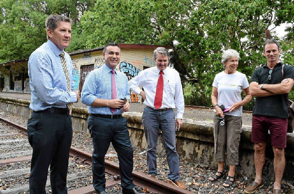 RAIL TRAIL INSPECTION: Pictured at the abandoned Bangalow Railway Station are NSW Nationals candidate for Ballina Kris Beavis, NSW Minister for Regional Tourism John Barilaro and Member for Ballina Don Page with Northern Rivers Rail Trail supporters Marie Lawton and Steve Martin.