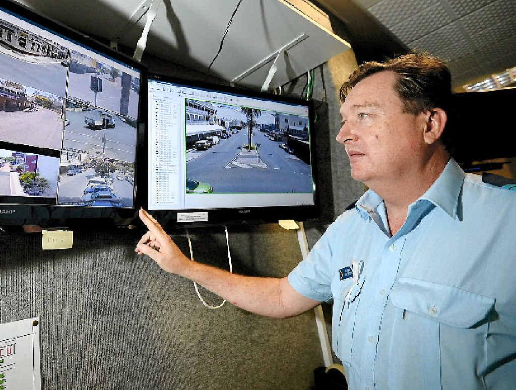 BIG BROTHER: Rockhampton Sergent Paul Bennett keeps a close eye on what is going on in Rockhampton's CBD through CCTV footage.