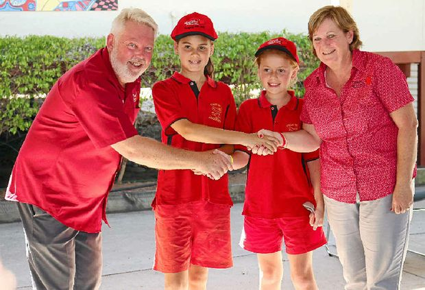 KEEP SAFE: Bruce and Denise Morcombe with Glenore Grove State School captains Meg King and Amy Taylor during a special visit to the school on Monday.