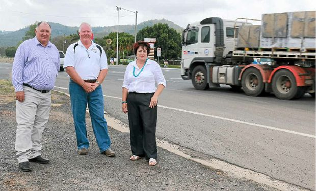 SAFE CROSSING: Lockyer Valley Regional Council Mayor Steve Jones, Withcott Progress Association president Rod Coleman and LVRC Councillor Janice Holstein want safety in Withcott to be improved.