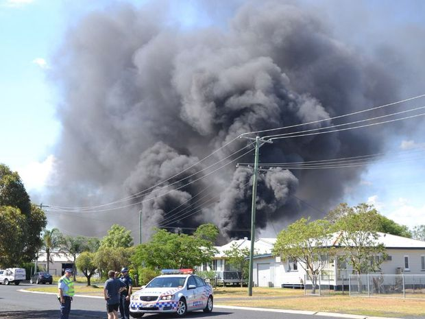 Smoke billows from the scene of a gas explosion in Dalby.