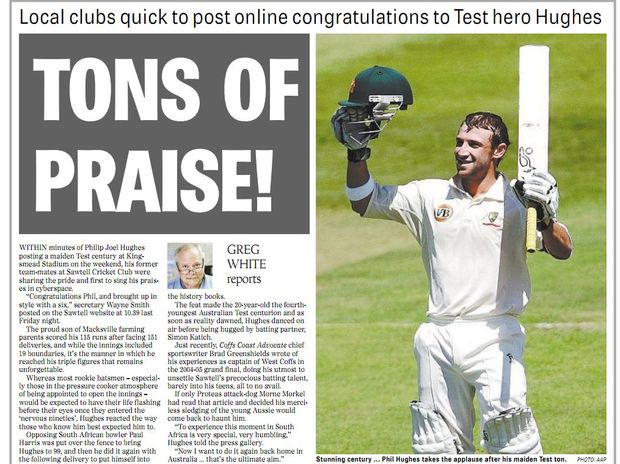 How the Coffs Coast Advocate's Greg White reported Phil Hughes first Test century.