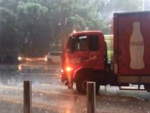 Brisbane hit by hail and strong winds