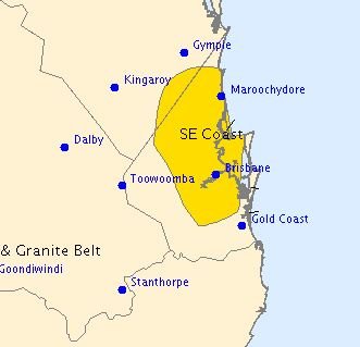 A severe thunderstorm warning has been issued for parts of the Wide Bay and Burnett and Southeast Coast Forecast Districts.