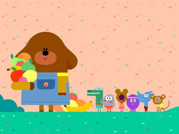 Duggee and the Squirrel Club in a scene from the TV series Hey Duggee.