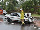 Three car crash Maroochydore Road, Kunda Park. Two people taken to hospital. Photo Patrick Woods / Sunshine Coast Daily