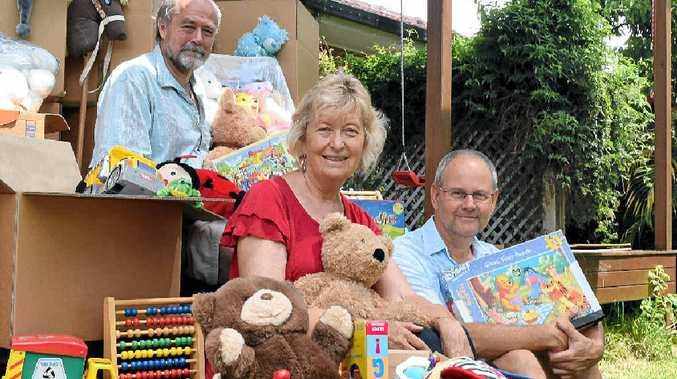 Gathering toys to send to asylum seeker children in detention at Nauru are (L-R) John Allan, Bobbi Allan and Garth Luke from Mullumbimby Loves Refugees.