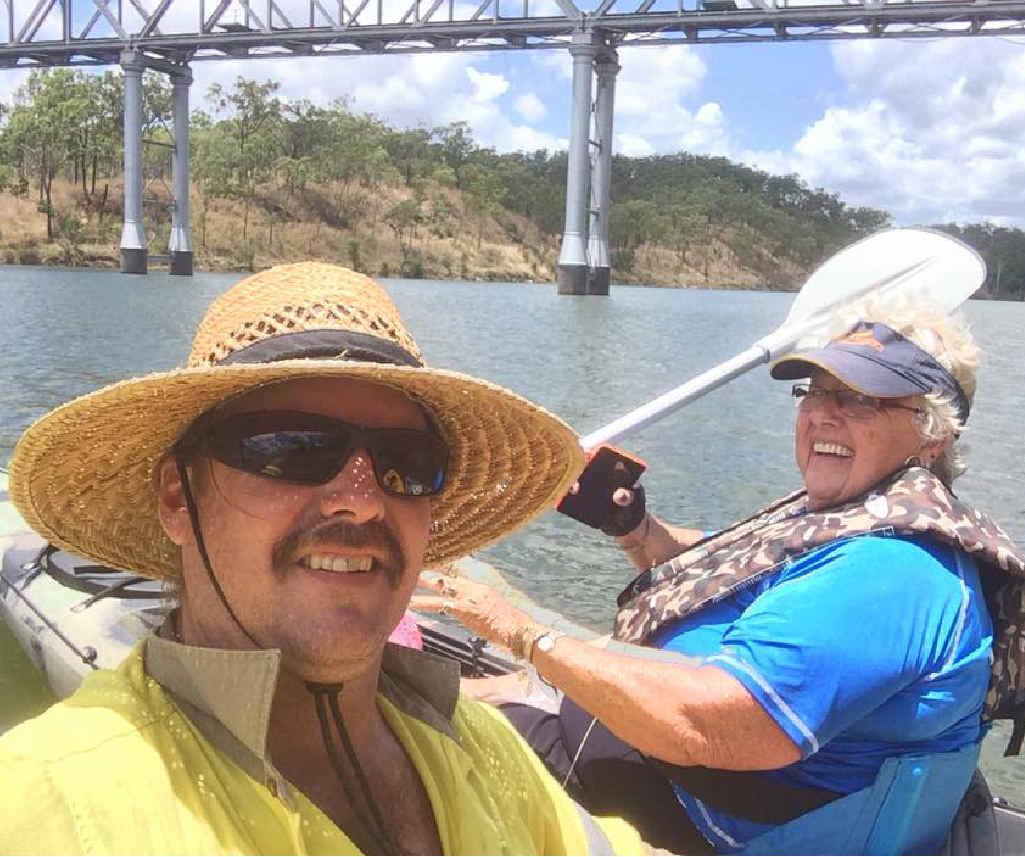 ADVENTURERS: Damon and mum Lorraine de Roode on their kayak trek up the Boyne River.