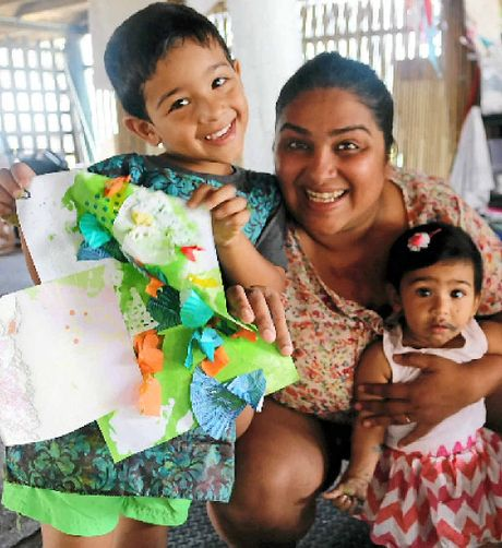 HAPPY FAMILY: Gladstone mum Richa Joshi with daughter Maya, eight months, and Shaurya, three, at the Art For Small People group in Gladstone.