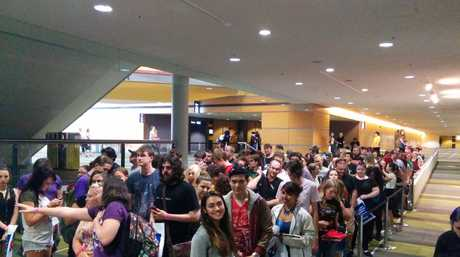 The crowd waiting to see Jack Gleeson, the actor behind Game of Throne's King Joffrey.