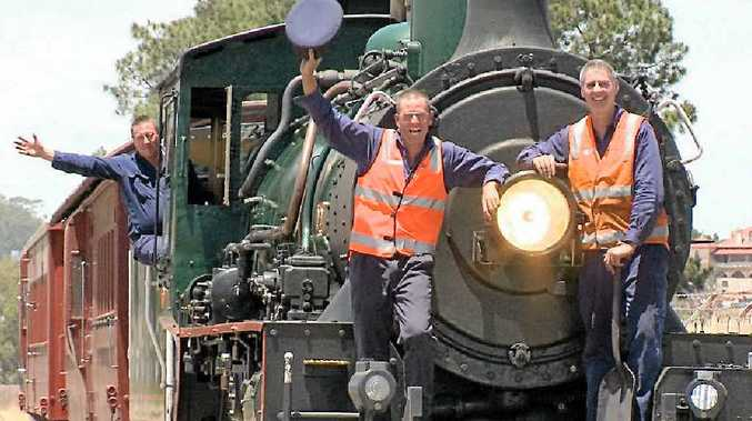 POWER: Drivers John Broderick, Paul Ryan and Chris Halliday onboard the 1079 steam engine.