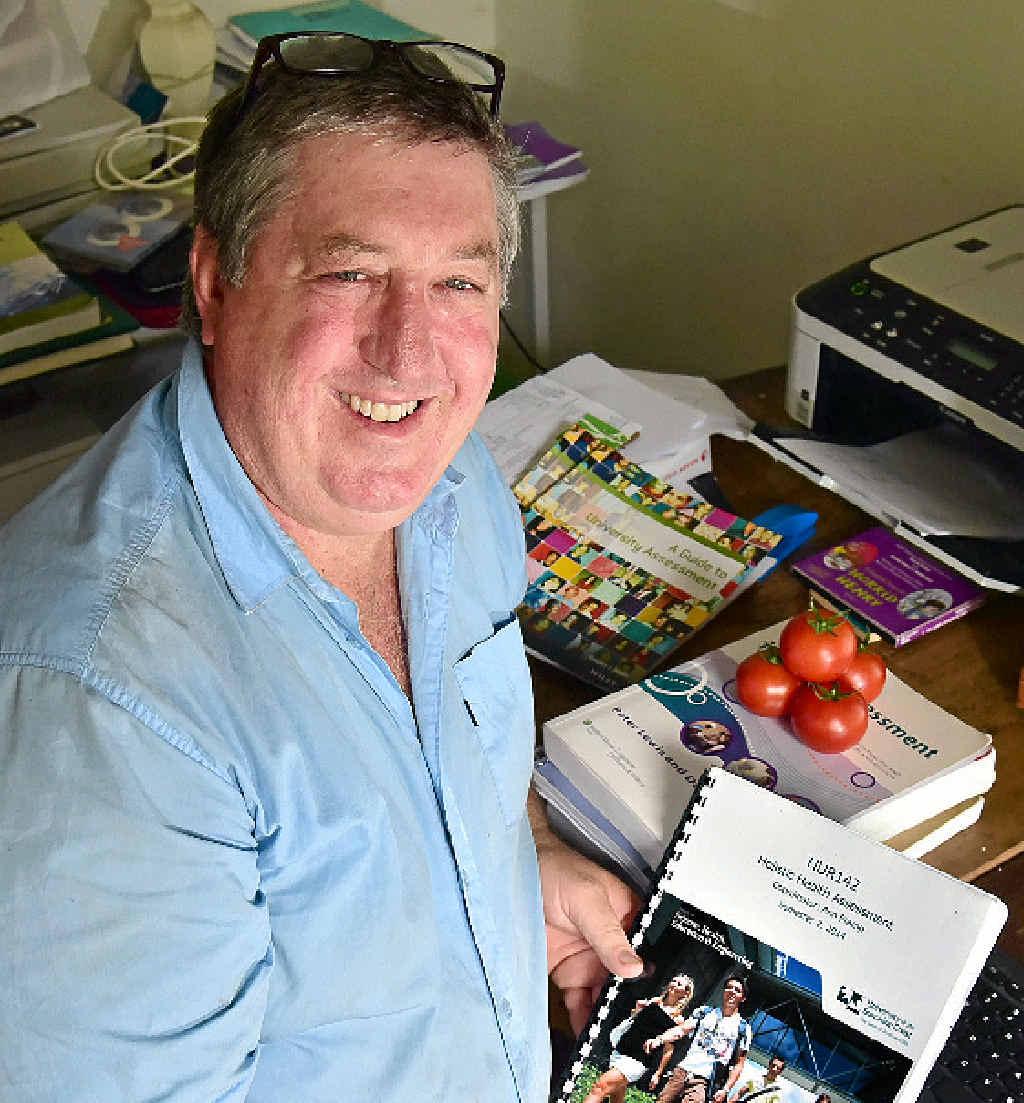 BIG SWITCH: Richard MacDonald has given up growing tomatoes to study nursing.