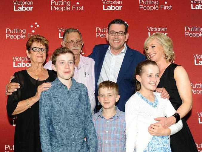 Victorian Labor Party leader Daniel Andrews celebrates with his wife Catherine, kids and his parents, at a party function in his electorate of Mulgrave, following his victory in the Victorian State election in Melbourne, Saturday, Nov. 29, 2014.