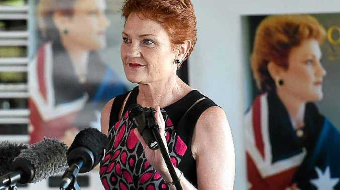 One Nation Leader Pauline Hanson speaks at the One Nation relaunch in Caboolture.