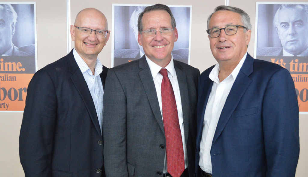 Blair MP Shayne Neumann, Labor's Ipswich West candidate Jim Madden and Lilley MP Wayne Swan.