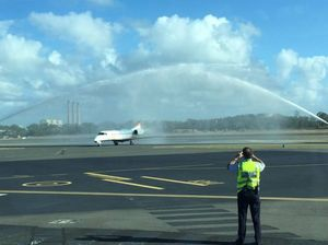 Water cannon salute for first JetGo flight