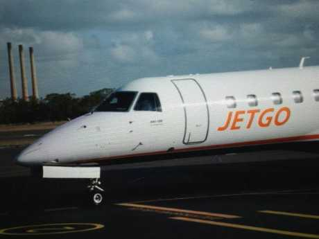 The first Jetgo flight from Sydney lands at Gladstone Airport on December 1, 2014.