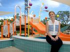 Cr Cherie Rutherford at the new wet play area the WWII Memorial Pool. Photo Allan Reinikka / The Morning Bulletin