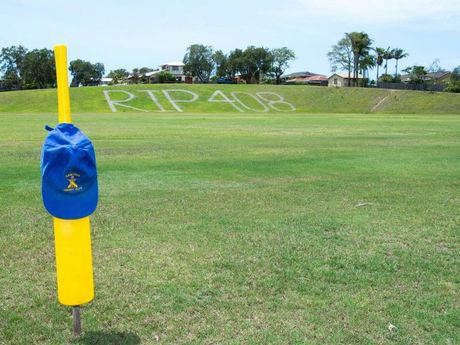 Former Sawtell clubmates of Phillip Hughes left a lasting tribute to the batsman at the club's home ground, Richardson park, the scene where a then 16 year-old Hughes made a half century during the 2004/05 CHDCA grand final. Photo: Trevor Veale / Coffs Coast Advocate