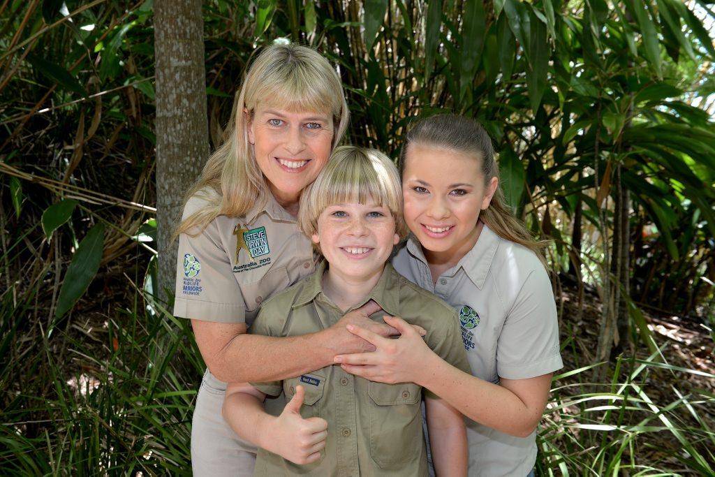 Robert Irwin celebrates his 11th birthday at Australia Zoo wil his mum Terri and sister Bindi. Robert unveiled a scultpure of a Smilodon created by Cameron Chapman. Photo: Warren Lynam / Sunshine Coast Daily