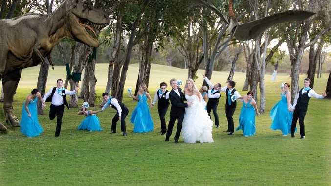 Brendan and Samantha Warwick with their unusual wedding day