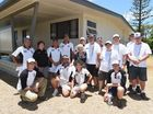 Legacy widow Edie Ewins with the team that repainted her house in Torquay as part of the Paint for a Mate Program.