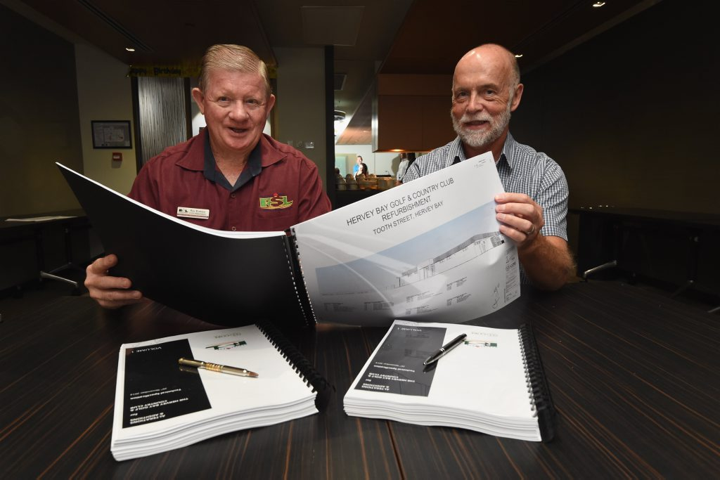 Hervey Bay RSL Services Memorial Club president Ray Eustace and Torbay Retirement Village chief executive Malcolm Johnstone at the signing of contracts for the refurbishment of the Hervey Bay Golf and Country Club.