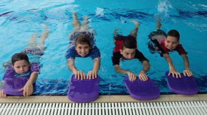 SPLISH SPLASH: Tierney Burke, Isobel Wieting, Wally Latcham and Ethan MacKenzie improve their fitness in the Calliope State School pool.