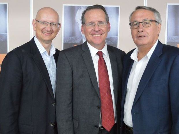 Federal members for Blair Shayne Neumann (left) and Lilley Wayne Swan (right) introduce Jim Madden at the Ipswich West campaign launch on Saturday.