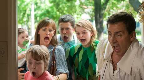 Jennifer Garner, Ed Oxenbould (front), Dylan Minnette, Kerris Dorsey and Steve Carell in the movie Alexander and the Terrible, Horrible, No Good, Very Bad Day.