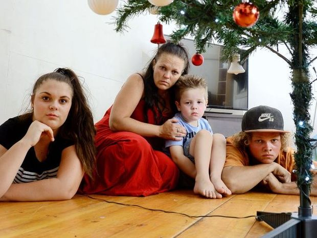 Haylie Rogers of Booval and her three children Maddison, 13, Elias, 4, and Alex, 16, are devastated after discovering that all their Christmas presents were stolen.