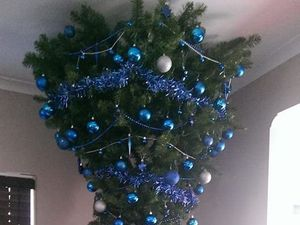 Upside-down Christmas tree has a practical purpose
