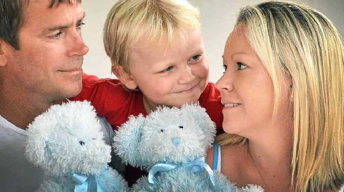 HOPES DASHED: Bec Miller, husband Russell and son Cale, 5, are grieving following the loss of twins during pregnancy to a rare syndrome.