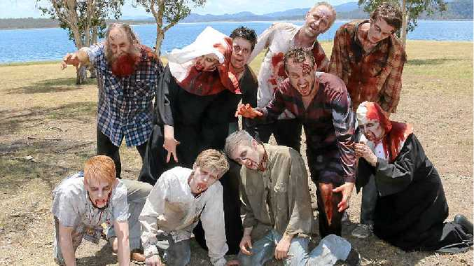 GORY GUESTS: Zombies invaded Wivenhoe Dam for the filming of zombie western feature film Bullets for the Dead last week.